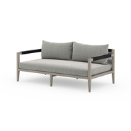 Four Hands Sherwood Outdoor Sofa, Weathered Grey - Faye Ash - Weathered Grey - Dark Grey Rope