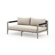 Four Hands Sherwood Outdoor Sofa, Weathered Grey - Faye Sand - Weathered Grey - Dark Grey Rope
