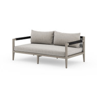 Four Hands Sherwood Outdoor Sofa, Weathered Grey - Stone Grey - Weathered Grey - Dark Grey Rope