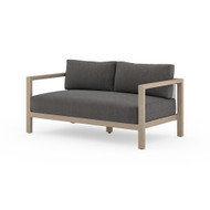 Four Hands Sonoma Outdoor Sofa, Washed Brown - Charcoal - Washed Brown