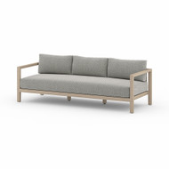 Four Hands Sonoma Outdoor Sofa, Washed Brown - Faye Ash - Washed Brown - Light Grey Strap