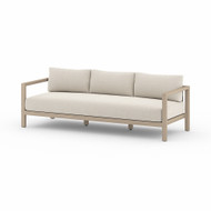 Four Hands Sonoma Outdoor Sofa, Washed Brown - Faye Sand - Washed Brown - Light Grey Strap
