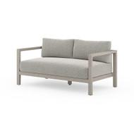 Four Hands Sonoma Outdoor Sofa, Weathered Grey - Faye Ash - Weathered Grey - Dark Grey Strap