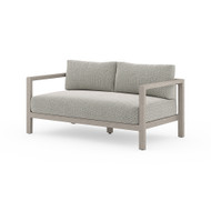 Four Hands Sonoma Outdoor Sofa, Weathered Grey - Faye Ash - Weathered Grey - Dark Grey Strap