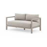 Four Hands Sonoma Outdoor Sofa, Weathered Grey - Stone Grey - Weathered Grey - Dark Grey Strap