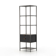 Four Hands Trey Bookshelf - Natural Iron - Black Wash Poplar - Toffee Leather