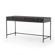 Four Hands Trey Modular Writing Desk - Natural Iron - Black Wash Poplar - Toffee Leather
