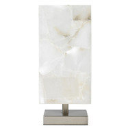 Jamie Young Ghost Axis Table Lamp - White Alabaster & Antique Silver Metal