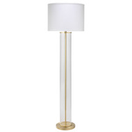 Jamie Young Vanderbilt Floor Lamp - Brass Metal & Clear Glass