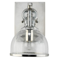 Jamie Young St. Charles Wall Sconce - Small - Polished Nickel Metal & Clear Seeded Glass