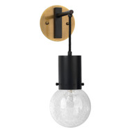 Jamie Young Strada Pendant Wall Sconce - Oil Rubbed Bronze, Antique Brass & Clear Seeded Glass
