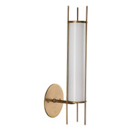 Jamie Young Italo Cylindrical Wall Sconce - Antique Brass & Opaque White Milk Glass