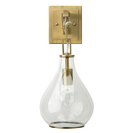 Jamie Young Tear Drop Hanging Wall Sconce - Clear Glass & Antique Brass Metal