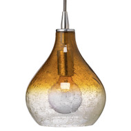 Jamie Young Curved Pendant - Small - Amber Seeded Glass