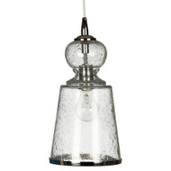 Jamie Young Lafitte Pendant - Long - Clear Seeded Glass w/ Nickel Hardware