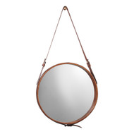 Jamie Young Round Mirror - Large - Brown Leather & Ant. Brass Metal Accents
