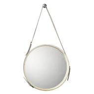 Jamie Young Round Mirror - Large - White Hide & Nickel Metal Accents