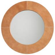 Jamie Young Round Cross Stitch Mirror - Buff Leather