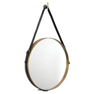 Jamie Young Round Mirror - Large - Antique Brass Metal w/ Black Leather Strap