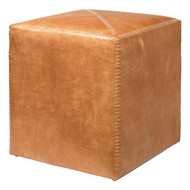 Jamie Young Ottoman - Small - Buff Leather