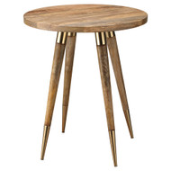 Jamie Young Owen Side Table - Large - Natural Wood & Antique Brass Metal