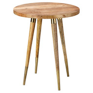 Jamie Young Owen Side Table - Natural Wood & Antique Brass Metal