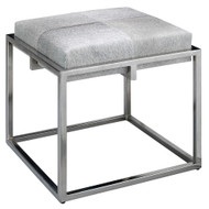Jamie Young Shelby Stool - Grey Hide & Nickel Metal