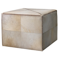 Jamie Young Ottoman - Large - White Hide