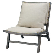 Jamie Young Baldwin Chair - Dark Wood & Off-White Linen