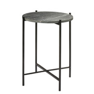 Jamie Young Domain Side Table - Black Textured Marble & Black Metal