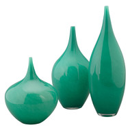 Jamie Young Nymph Decorative Vases - Set of 3 - Emerald Green Blown Glass