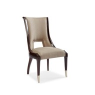 Caracole In Good Company - Taupe Shimmer Side Chairs with Gold Ferrules (Store)