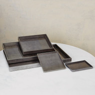 Studio A Gunmetal Silver Leaf Rectangle Tray - Sm (Store)