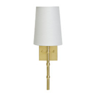 Worlds Away Molly Gold Leaf Sconce With Bamboo Detail & White Linen Shade (Store)