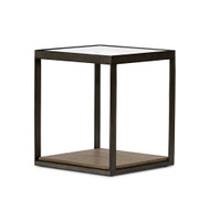 Four Hands Carlson End Table - Monument Grey Oak Veneer - Gunmetal - Tempered Glass (Store)