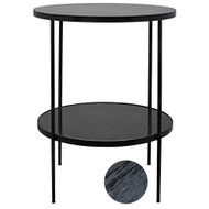 Noir Rivoli Side Table - Metal with Marble (Store)