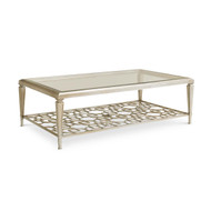 Caracole Socialite - Taupe Silver Leaf Coffee Table with Fretwork Shelf (Store)