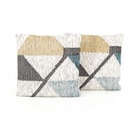 Four Hands Cream Color Block Pillow - Set of 2 (Store)
