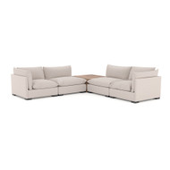 Four Hands Westwood 4 Piece Sectional - W/ Corner Table - Bayside Pebble