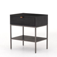 Four Hands Trey Nightstand - Black Wash Poplar
