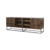 Four Hands Kelby Media Console - Carved Vintage Brown