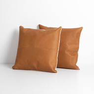Four Hands Sandro Leather Pillow, Whiskey, Set Of 2