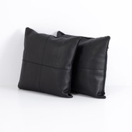 Four Hands Sandro Leather Pillow, Black, Set Of 2