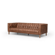 "Four Hands Williams Leather Sofa - 75"" - Natural Washed Chocolate"