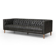 "Four Hands Williams Leather Sofa - 90"" - Natural Washed Ebony"