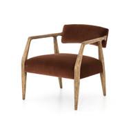 Four Hands Tyler Arm Chair - Burnt Auburn Velvet