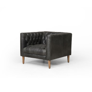 Four Hands Williams Leather Chair - Natural Washed Ebony