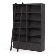 Four Hands Bane Bookshelf - Double Bookshelf W/ Ladder - Dark Charcoal