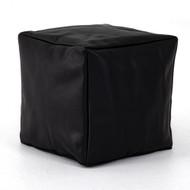 Four Hands Sandro Leather Pouf - Pebble Black