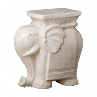 Elephant Garden Stool - White Crackle